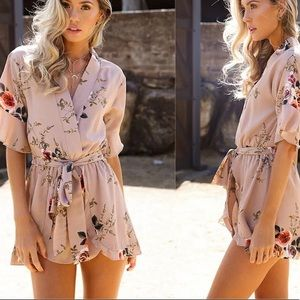 Pants - Beige floral jumper suite romper